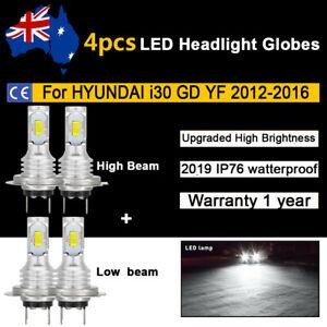 For Hyundai i30 GD YF 2013 2014 2015 4x Headlight Globes High Low beam LED Bulb