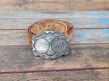 Cool Vintage Tooled Leather Belt w/ Bicentennial Spirit of 76 Brass Buckle