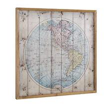 [art.work] Wandbild 60x60cm Amerika Karte Globus Weltkarte Leinwand Bild GERAHMT