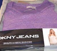 DKNY Jeans Sequin V Neck 3/4 Sleeve drawstring waist Sweater  Purple Sz L