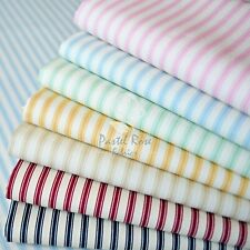 Ticking Stripes printed 100% Cotton Poplin Fabric, Fat Quarter Bundle , Metre