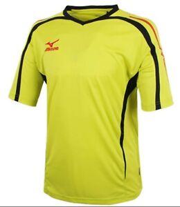 Mizuno Men GAME S/S T-Shirts Jersey Training White Lime Top Shirt P2MA501001