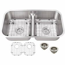 Cahaba CA1221L32 Premium 50/50 Undermount Low Divider Kitchen Sink Stainless Ste