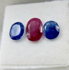 BEST PRICE 3PCS 3.15CTS NATURAL RUBY & BLUE SAPPHIRE OVAL CUT GEMSTONE FOR RING