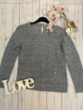 White stuff Size 12 blue alpaca blend thin knitted cosy warm jumper VGC pocket