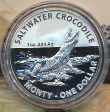 2016 Australia Monty Australian Saltwater Crocodiles $1 Silver Frosted Unc Coin