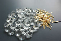 100PCS 14MM CLEAR OCTAGON CRYSTAL GLASS BEADS CHANDELIER CHAIN PART + PINS