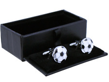 Enamelled football black and white cufflinks men's boxed gents man gift present