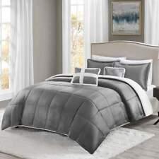 FULL/QUEEN True North GRAY Mink Sherpa Ultra soft 5-pc Comforter Set