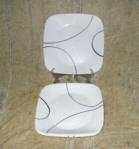 """Corelle Corning Simple Lines Square Luncheon / Salad Plates 9"""" Lot Of 4"""
