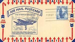 "C48 4c Eagle, Pent Art cachet in blue ""B-45 Test Flight"" on card [072621.307]"