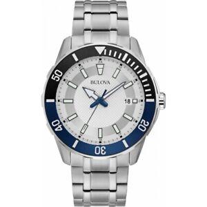 Bulova Men's 44mm Sport Stainless Steel Watch Silver White Dial