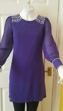 Ladies/Stunning PURPAL TUNIC dress fullsleeves beaded Shoulders & cuffs size 8