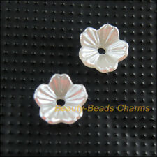150Pcs White Plastic Acrylic Flower Leaf Spacer End Bead Caps Charms 8mm