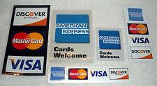 Credit Card Door Decal SET American Express Mastercard Visa Discover     mixed