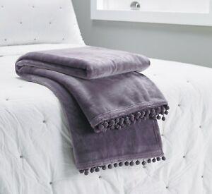 Cashmere Touch Fleece Throw with Pom Pom Braid