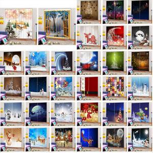 SET Christmas Window Curtain Drape Room Door Screen Panel Xmas Decor 150cmx166cm
