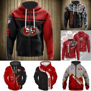 San Francisco 49ers Hoodie Men Casual Jacket Full Zip Hooded Football Sweatshirt