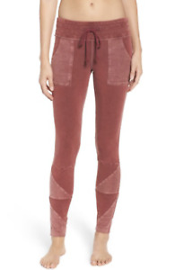 Free People FP Movement Kyoto Leggings Joggers Pants Washed Plum Red Size XS