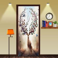 3D Plum Flower Deer Paint Landscape Living Room Door Sticker Wall Murals Decal