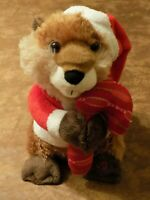"Animated Musical Plush Christmas Beaver 2012 Avon 9.5"" Sings Under The Mistletoe"
