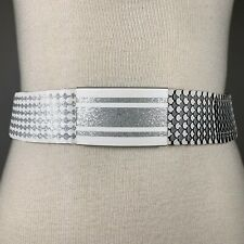 Os Vintage 70s Silver White Metal Fish Scale Stretch Statement Belt Disco Glam