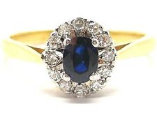 Sapphire 0.40ct. & Diamonds 0.40ct.Yellow Gold 18Carat Size O 1/2 Ring