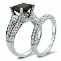 Opaque Black Diamond Bridal Set 3.34 Ct Princess Diamond Black Silver Ring Fine Jewelry