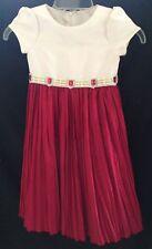 Cinderella Ruby Red & Cream Embellished Waist Tie Back Dress - Size 5  NEW!