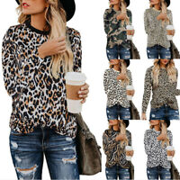 Women Autumn Crew Neck Leopard Print Long Sleeve Casual Loose T-Shirt Top Blouse