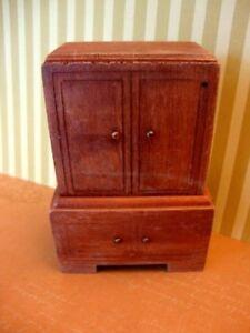 Vintage Cabinet Wooden Armoire Entertainment Cabinet Closet Dollhouse Decor