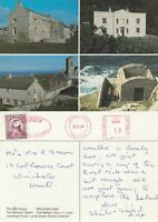 LUNDY 1989 MULTI VIEWS OF LUNDY COLOUR POSTCARD CDS & METERED CANCELS