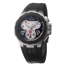 Concord Men's Saratoga Black Dial Chronograph Black Rubber 0311702 NWT