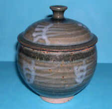 Studio Pottery - Attractive High Quality Single Footed Stoneware Lidded Dish.