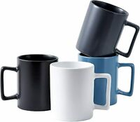Bruntmor Modern Matte Ceramic Coffee Mugs Set of 4 Latte Mugs 16 oz Monochrome