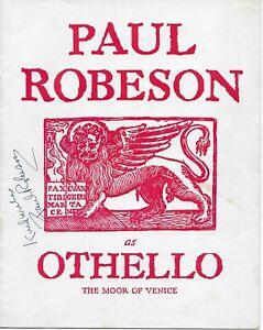 "Paul Robeson as ""Othello"" Souvenir Program Signed w/ JSA LOA - June 1945, RARE"