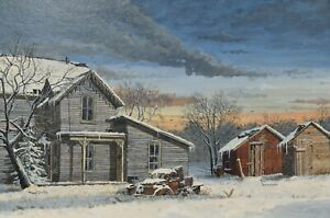 "Ron Vermeiren Original Acrylic Painting Winter Landscape 18 x 24"" Canadian"