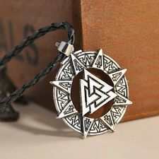 Valknut Odin's Symbol of Norse Viking Warriors Pewter Pendant Necklace Retro