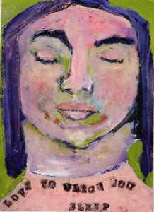 Sleeping Woman Portrait Painting Purple Hair Katie Jeanne Wood