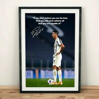 Cristiano Ronaldo Juventus 2020 Motivational Quote Autographed Poster Print