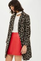 Topshop Leopard Pocket Slim Fit Boyfriend Crombie Long Wool Jacket Coat  8 - 10