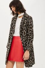Topshop Petite Leopard Pocket Slim Fit Boyfriend Crombie Wool Jacket Coat 4 - 12
