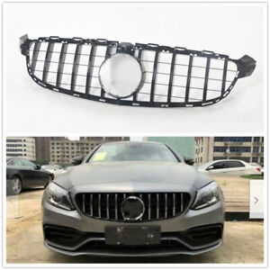C63 GT R AMG Front Grille Grill for Mercedes Benz W205 2015-2018 Black w/ camera