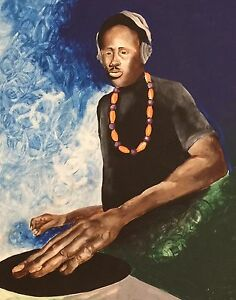 Vtg 80s Rap Music African American DJ Club Original Artwork Painting Outside Art