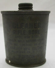 U.S. Military WW2 Cleaner - Rifle Bore Tin - Poison Fidelity MFG Co. USA 2 oz