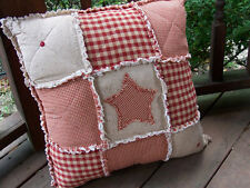 Red Homespun Country Rag Pillow with Star Primitive Buttons, Handmade in Nj