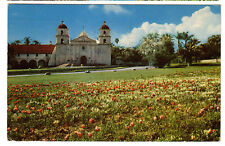 1952 postcard- Tulip Time at the Santa Barbara Mission, California