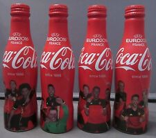 Set of 4 Aluminium Coca-Cola Bottles Belgium Soccer UEFA Euro 2016 w carrier