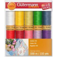 Gutermann Cotton Thread Set - 10 Spools, 110 yds each, 50 Weight