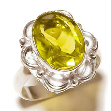 Faceted Lemon Quartz Oval Gemstone silver plated Handmade Designer Ring US-9